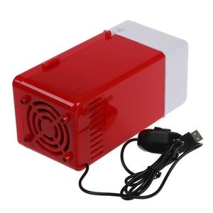 Image 5 - Mini USB lodówka czerwona mieści pojedynczą puszkę 12 uncji, która jest podświetlana z diody LED wewnątrz lodówki używanej w kabinie, w domu