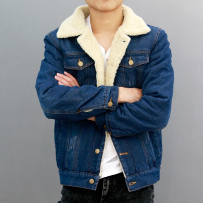 2018 NEW Autumn Winter New 2018 Women lambswool jean Coat With Pockets Long Sleeves Warm Jeans Coat Outwear Wide Denim Jacket