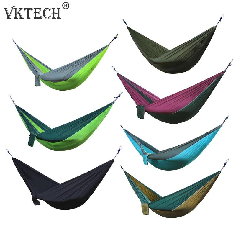 Portable Hammock Nylon Double Person Hammock Adult Camping Outdoor Backpacking Travel Survival Hunting Sleeping Bed Parachute