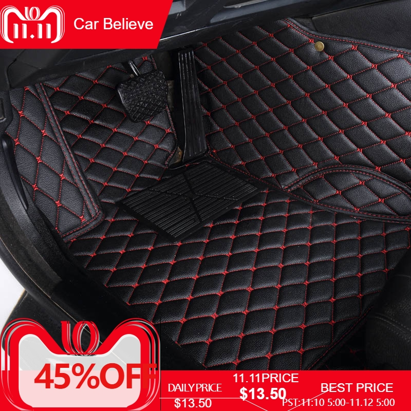 Car Believe Auto car floor Foot mat For pajero sport 4 grandis lancer outlander xl 2017 2013 car accessories waterproof carpet fully enclosed trunk mat for mitsubishi outlander xl pajero sport lancer car accessories car mats