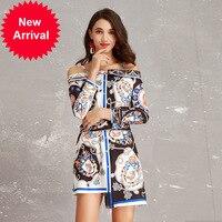 Runway Designer High 2019 Fashion New Sexy Camisole One Shoulder Printing Irregular Dress + Seal Waist