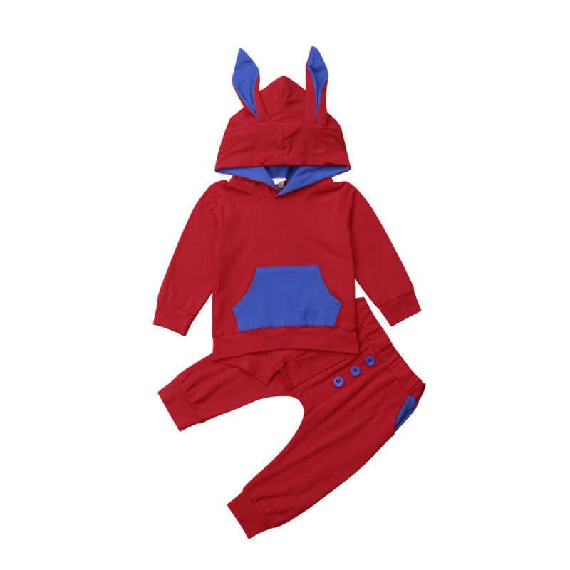 Осенние для маленьких девочек мальчиков 3D ухо толстовки одежда Теплый комплект мультфильм кролик с капюшоном с длинными рукавами хлопковые топы Толстовка и штаны комплект