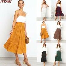 HIRIGIN Women Fashion Elastic Pleated Skirt High Waist Bodycon Skirts Casual