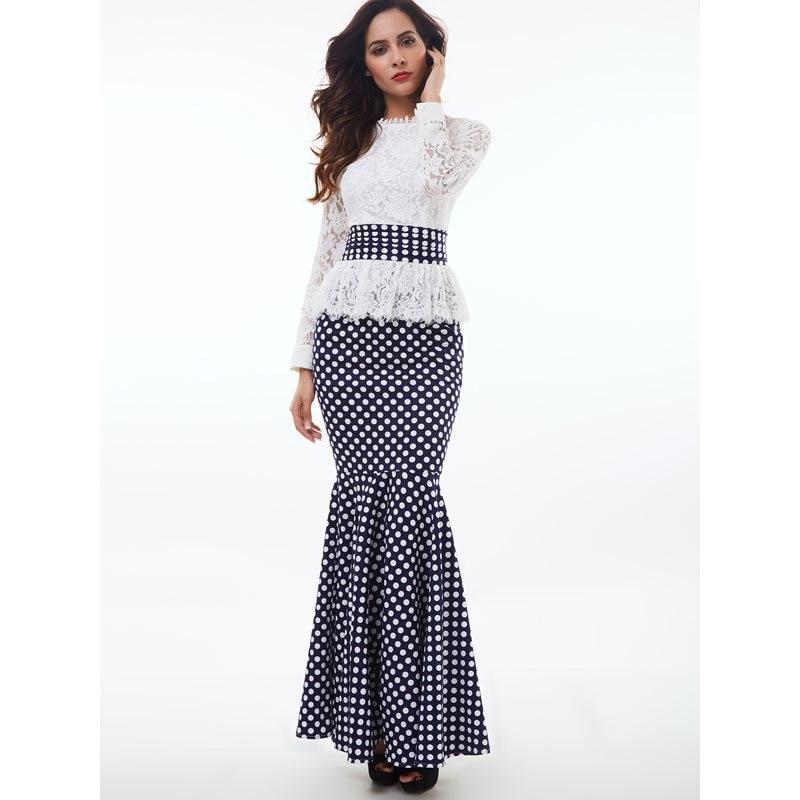 Femmes Maxi robes élégant Vintage fête blanc printemps sirène col montant à pois Falbala dentelle femme rétro mode robe