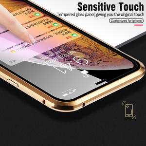 Image 5 - Double sided glass Metal Magnetic Case for iPhone X 10 XS MAX XR Glass Case Magnet Cover 360 Full Protection For iphone XS Max