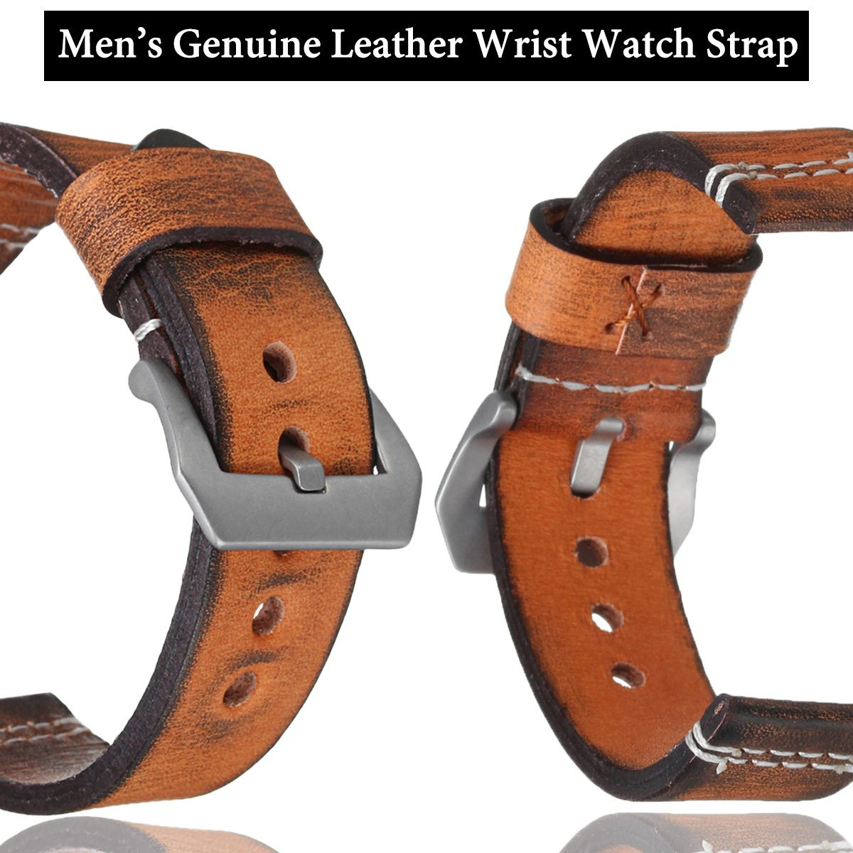 Watchbands Genuine Leather WatchBand Stainless Steel Buckle Clasp watch bands leather strap 22mm 24mmWatchbands Genuine Leather WatchBand Stainless Steel Buckle Clasp watch bands leather strap 22mm 24mm