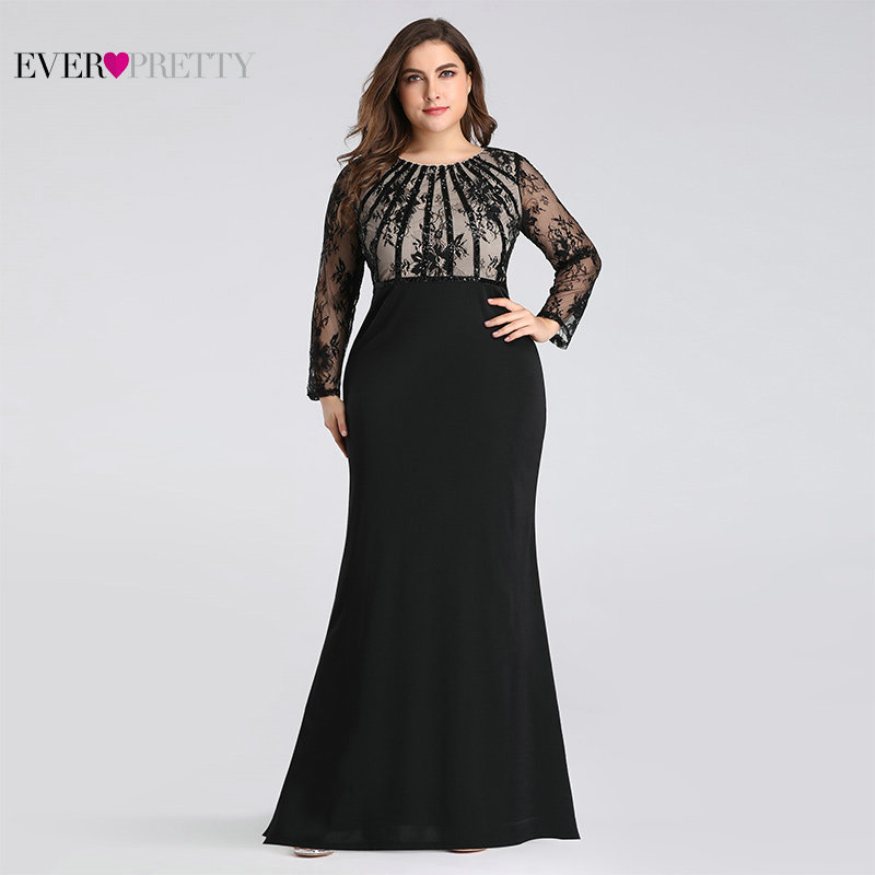 Plus Size Evening Dresses Long 2020 Ever Pretty Elegant Mermaid Lace Full Sleeve O-neck Robe De Soiree New Wedding Guest Gowns 1