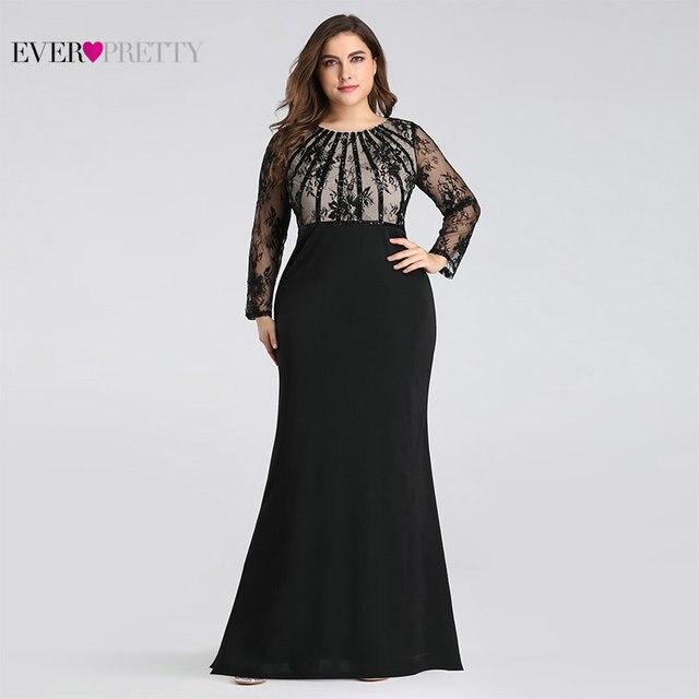 이브닝 드레스 긴 2020 에버 예쁜 EZ07771 우아한 인어 레이스 전체 슬리브 o 넥 플러스 크기 신부 드레스의 어머니