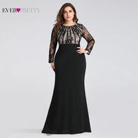 Plus Size Evening Dresses Long 2019 Ever Pretty Elegant Mermaid Lace Full Sleeve O neck Robe De Soiree New Wedding Guest Gowns