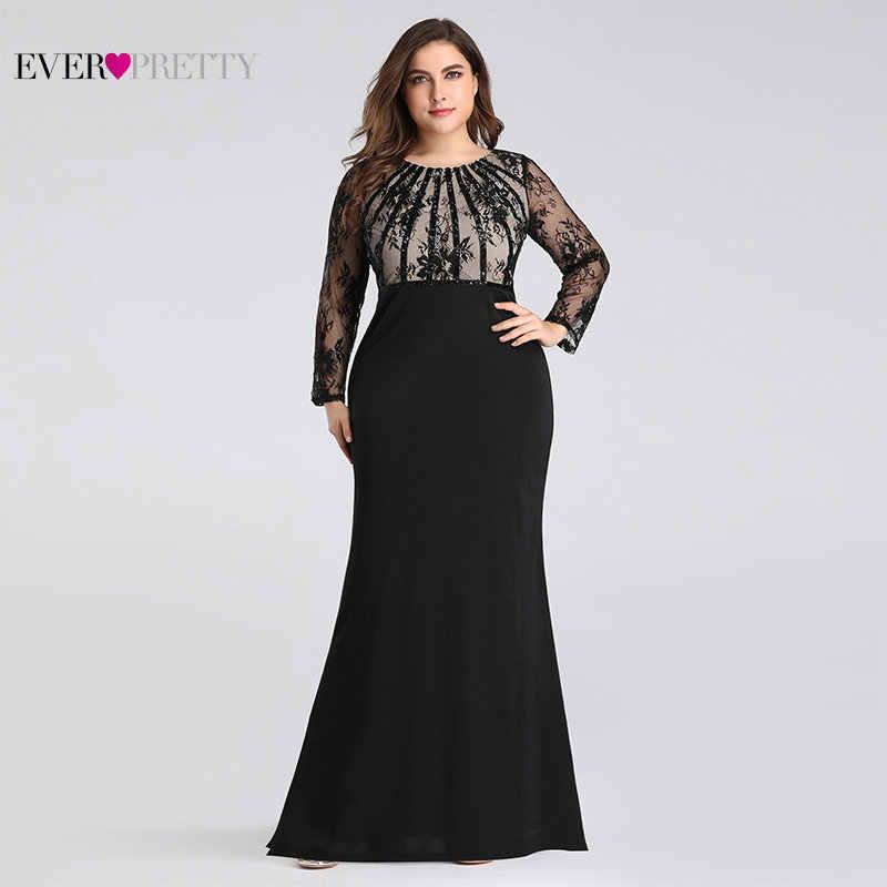 Vestidos de Noche largos 2019 siempre bonito EZ07771 elegante sirena de encaje de manga larga cuello redondo talla grande vestidos de Madre de la novia