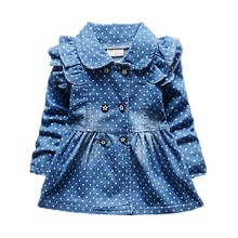 New Fashion Brand Hot Sale Dress Girls Soft Cotton Baby Long-sleeve Dots Denim Dresses Kids Spring Autumn Infant