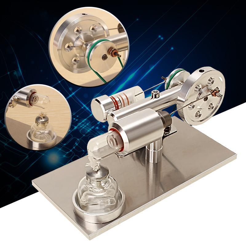 165x90x90mm Air chaud Stirling moteur moteur modèle générateur en alliage d'aluminium équipement éducatif école physique Kit d'approvisionnement