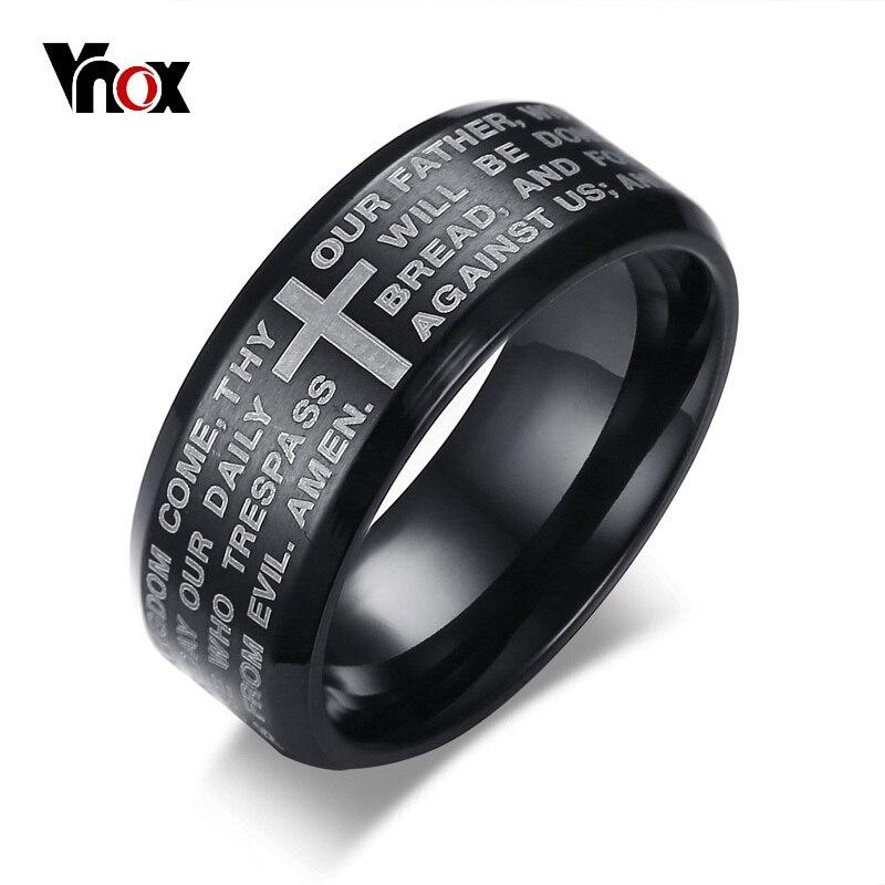 Vnox Cross-Ring Male Jewelry Engraved-Bible Stainless-Steel Us-Size Prayer Men Stylish