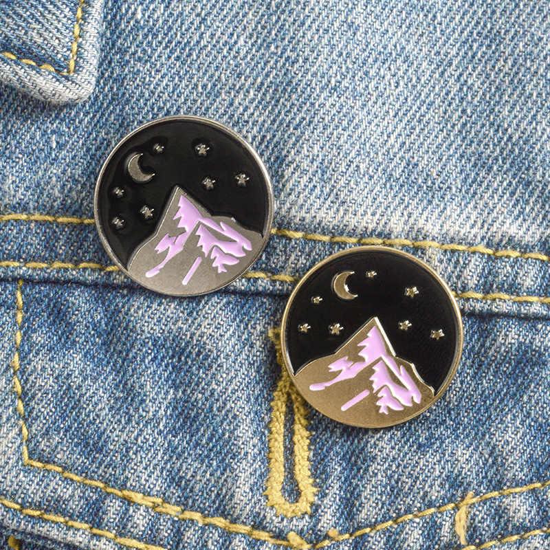 Goldene Geschäfts Anzug Silber Denim Jeans Revers Valentines Geschenk 1 PC Emaille Starry Nacht Mond Abzeichen Tasche Broschen Hemd Hut