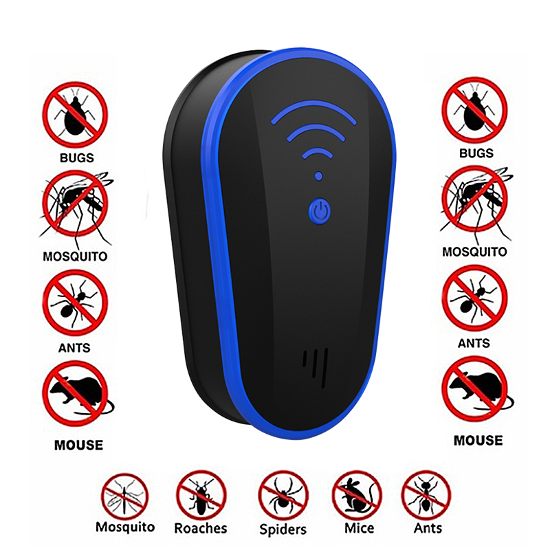 Multi-functional Ultrasound Anti Mosquito Insect Repeller Rat Mouse Cockroach Pest Reject Repellent EU/US Plug Repellent Killer