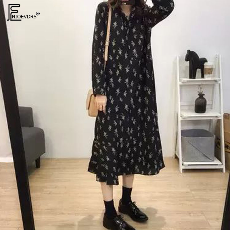 2019 Spring Cute Loose Casual Mid-calf Dresses Vestidos Korean Preppy Style Sweet Girl Floral Print Vintage Dress Long D716 Платье