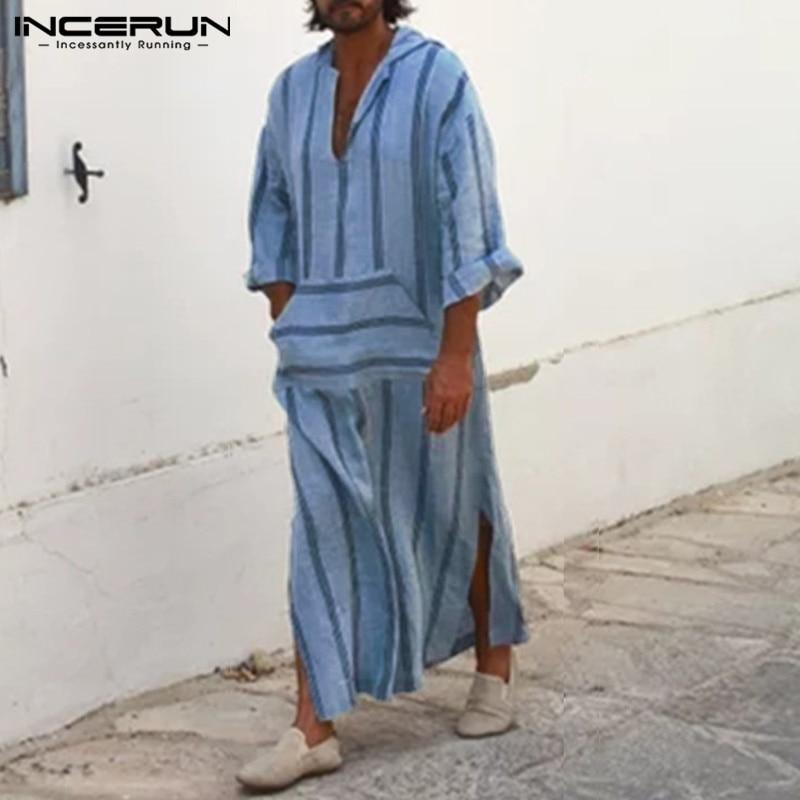 INCERUN Men Muslim Islamic Arab Kaftan Hooded Striped Long Sleeve Polyester Men Thobe Robes Casual Pockets Muslim Clothes 2019
