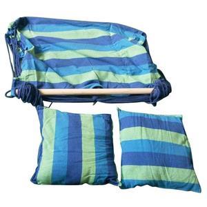 Image 5 - Cadeira de jardim pendurado balançando interior ao ar livre redes de lona grossa dormitório balanço com 2 travesseiros rede sem varas de madeira