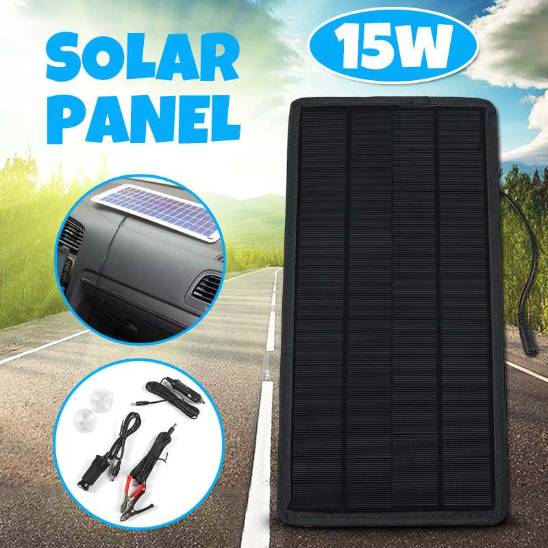 15W 12V/5V Solar Panel 2 Output Portable Power Bank Charger External Battery Solar Cell Board DIY Clip With Cigarette Lighter смартфон sony xperia xa ultra