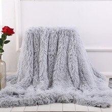Novo macio quente de pelúcia lance cobertor sofá longo salsicha pele fuzzy falso cobertura do sofá cama cobertor inverno acolhedor joelho cobertor