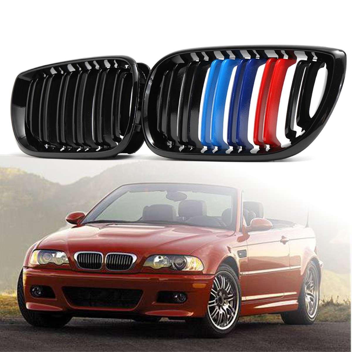 1 paire de grilles de calandre pour pare-chocs avant 2 lignes lamelle M couleur 3 couleur pour BMW série 3 E46 4 portes 2002 2003 2004 grilles de course