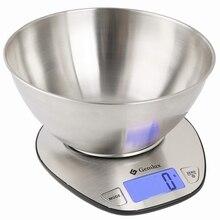Весы кухонные GEMLUX GL-KS5SB (ЖК-дисплей, максимальная нагрузка 5 кг, автоотключение для экономии заряда батареи, сброс веса тары, нержавеющая сталь)