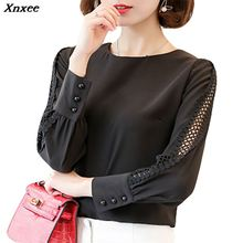 Xnxee New Women Blouses Shirt Hollow Out Lace Blouse Tops For Geometry Casual Work Blusas White  9/10 Sleeve