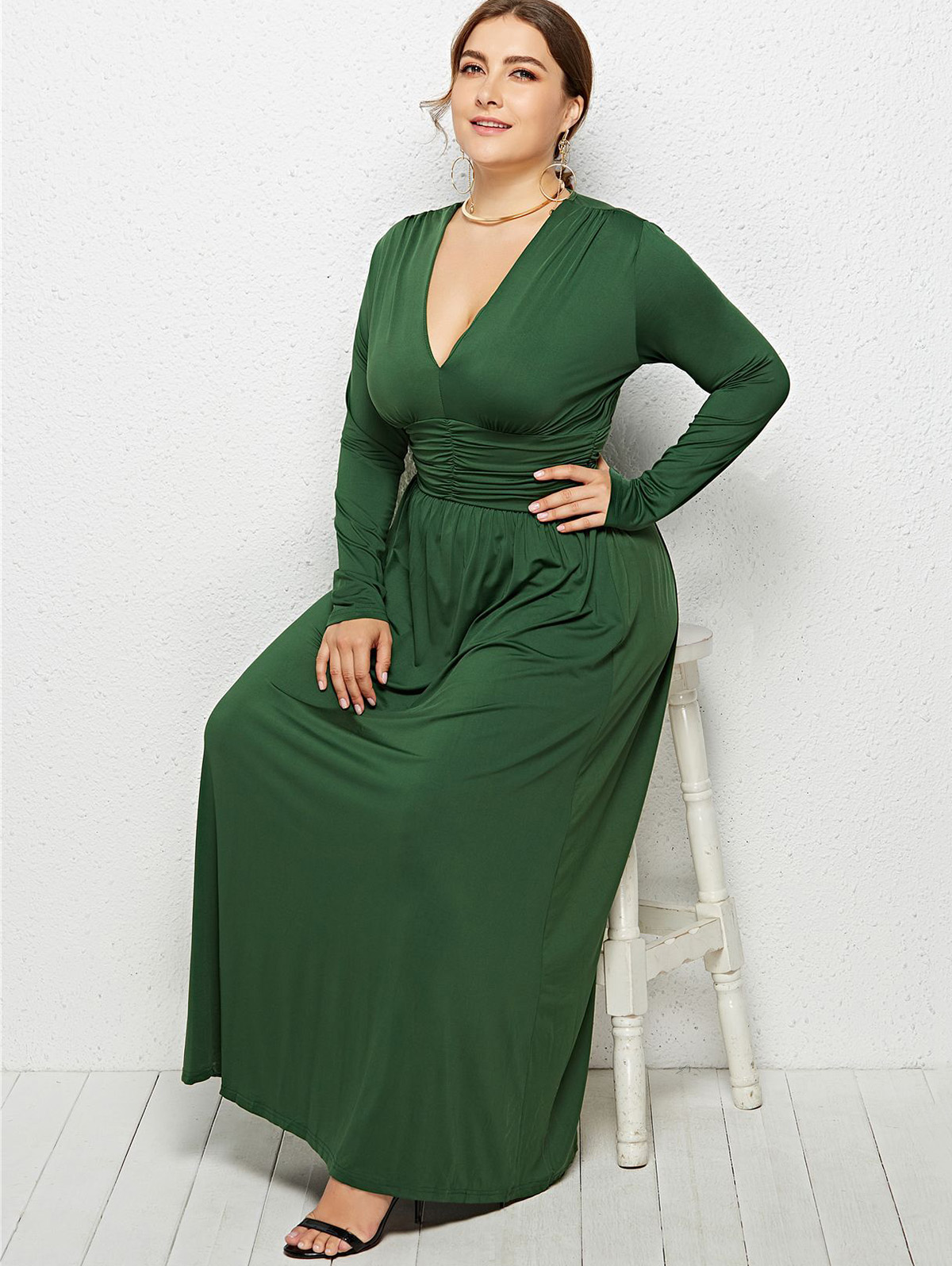 US $17.63 50% OFF Wipalo Women Plus Size Plunging Neck Empire Waist Maxi  Dress Fit And Flare Solid Formal Evening Party Dress Casual Vestidos 3XL-in  ...