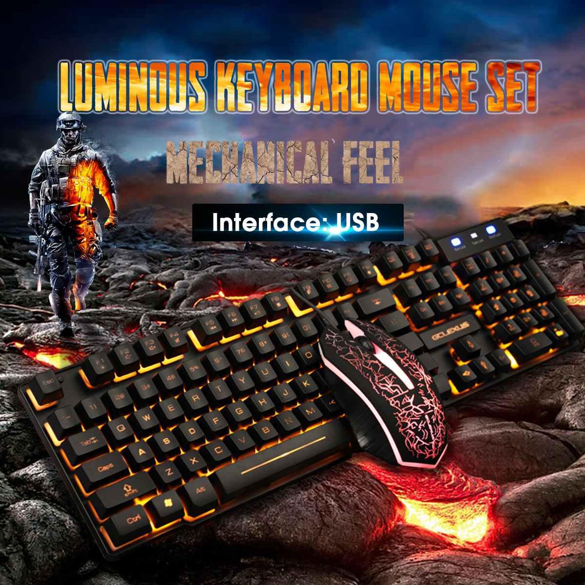 Клавиатура Мышь Набор механический Feel игра ноутбук Настольный компьютер проводной светящийся персонаж светящаяся клавиатура