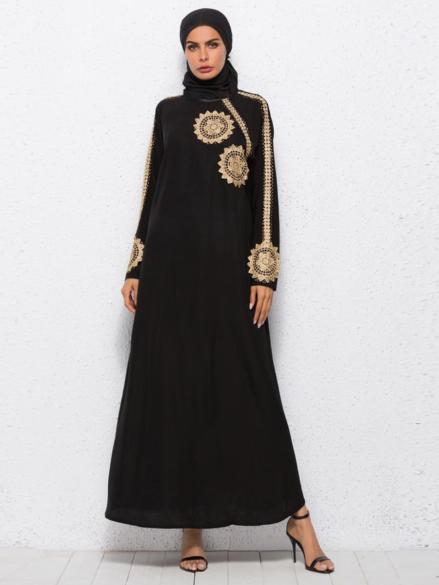 Robe musulmane broderie femmes arabe Abaya automne longue robe Dubai caftan noir Maxi robes femme A1006