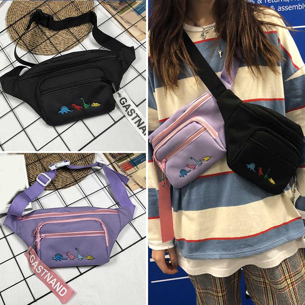 Модные Canavs женские сумки с вышивкой динозавра на талии забавные сумки через плечо в стиле хип-хоп нагрудные сумки на пояс телефон сумка на плечо кошельки для денег
