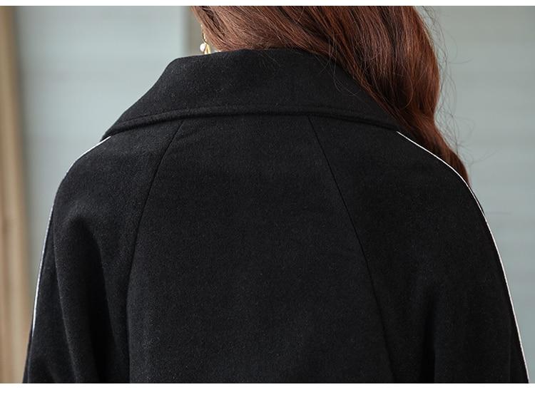 En Veste Et Longue Manteaux Manteau Solide De Double D'hiver Laine Boutonnage Mélangée Poches À Mode Large Féminin Noir Taille EDH29I