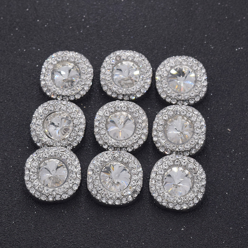 Cooperative 10pcs/lot 23mm Clothings Silver Alloy Buttons With Glass Rhinestones Crystal Button Decorations For Garment Diy Sewing