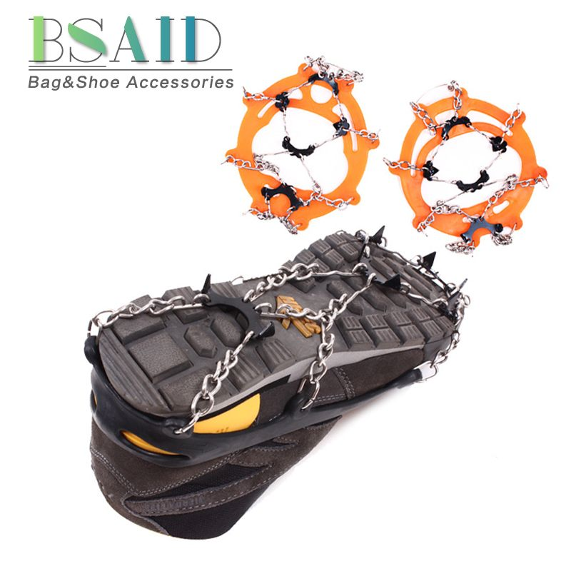 BSAID 8 Teeth Ice Gripper, Anti Slip Outdoor Snow 8 Nails Spikes Grips Ski Crampons Mountaineering Shoes Grippers Claws Chains