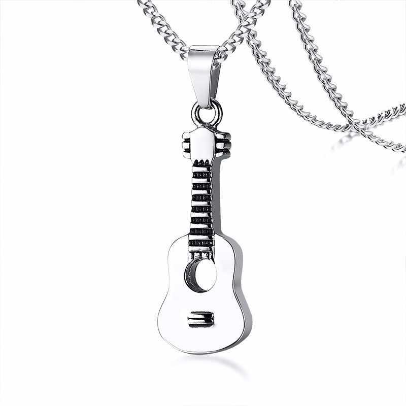 Gümüş gitar kolye paslanmaz çelik açılabilir Punk Rock müzik kolye kadın erkek Unisex hediyeler