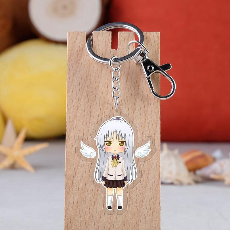 Anime Angel Beats Cosplay Keychain Cartoon Figure Tachibana Kanade Car Key Holder Chain Pendants Keyrings Jewelry