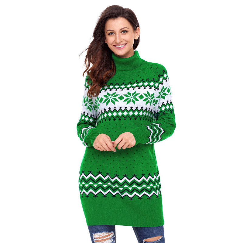 Christmas Women Fashion Coat Sweater Pullovers Casual Knitting Dress Autumn Winter Warm Winter Lady Xmas Tops 3Color