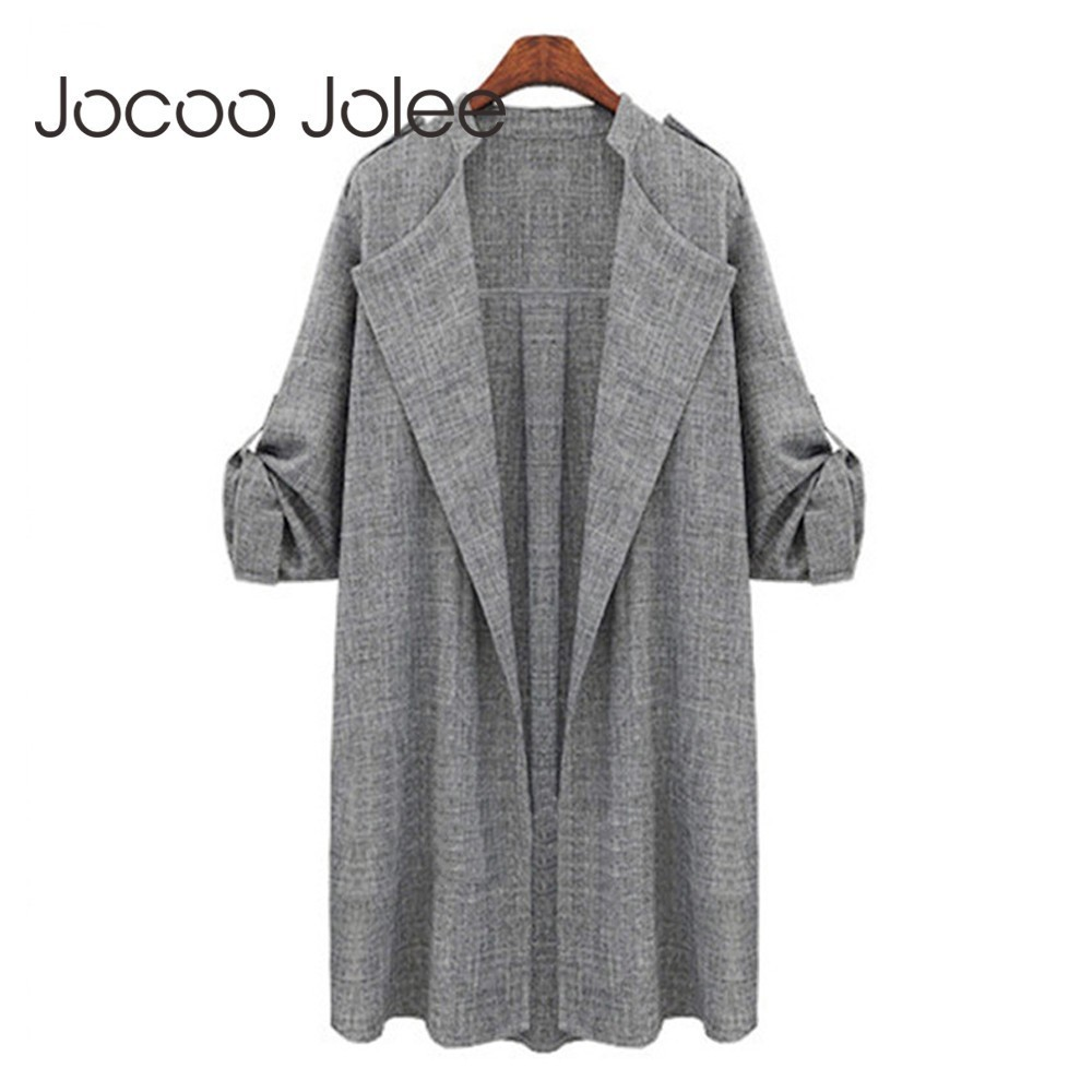 Jocoo Jolee   Trench   Coat For Women Long Sleeve Vintage Windbreaker Long Coat Overcoat Waterfall Cardigan Streetwear Plus Size