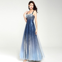 Stars shinning gradient sexy dress womens fashion sequin mesh sling Dress 17085