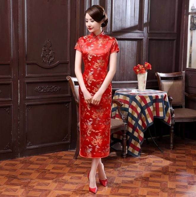 Red Satin Qipao Summer Lady Traditional Chinese Style Cheongsam Dresses Short Mouw Long Qipao Dress Size L-5XL(China)