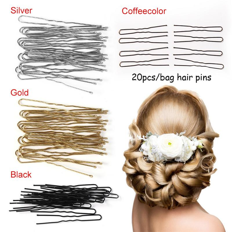 20PCs/Set Fashion U Shaped Hair Pin Hair Styling Jewelry Bobby Pin Clip Waved Metal Hairpin For Women Hair Accessories Wedding