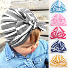 2019 Newborn Toddler Kids Cap Baby Boys Girls Turban Cotton Beanie Hats Winter Striped Cute Casual Hat Caps Fashion New Sale Hot(China)