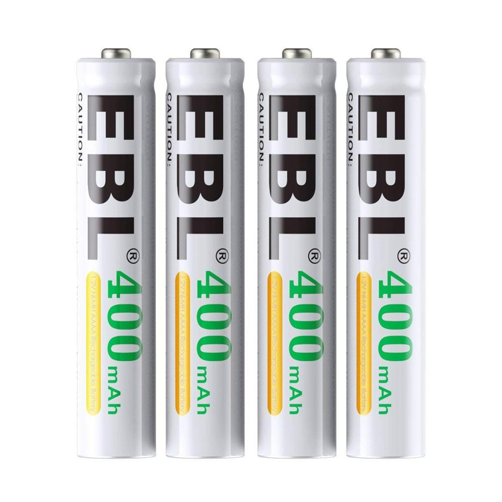 Piles EBL AAAA, batterie Rechargeable AAAA 1.2V Ni-MH 400mAh pour stylo de Surface, paquet de 4
