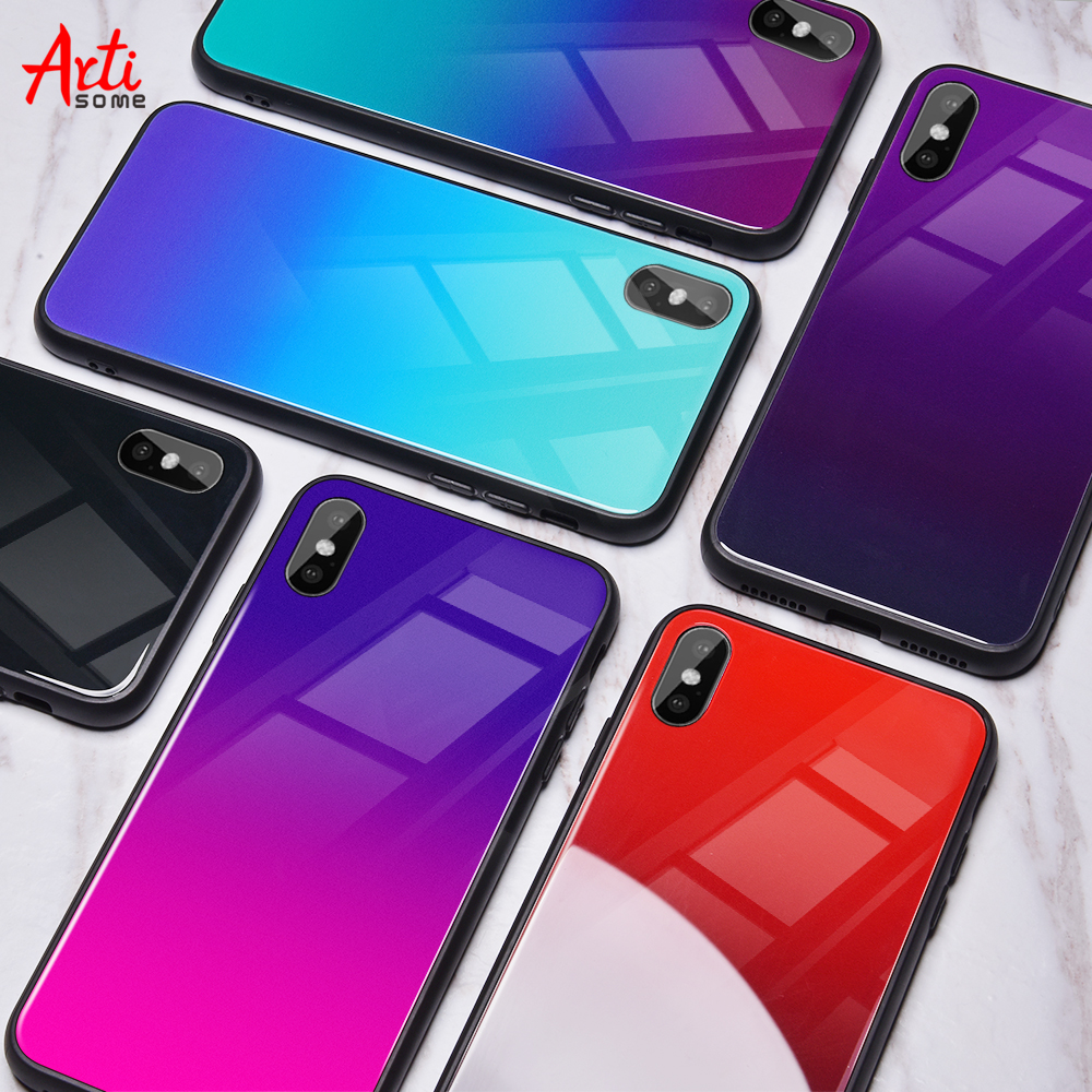 Gradient Tempered Glass Case For iPhone X 7 6 Xs Max Xr Luxury Silicone Phone Case For iPhone 7 8 Plus Case For iPhone X 7 Coque(China)