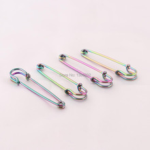 10pcs /lot Rainbow Color New Design Beautiful 56mm Metal Safety Pins brooch pins Finding for Earring
