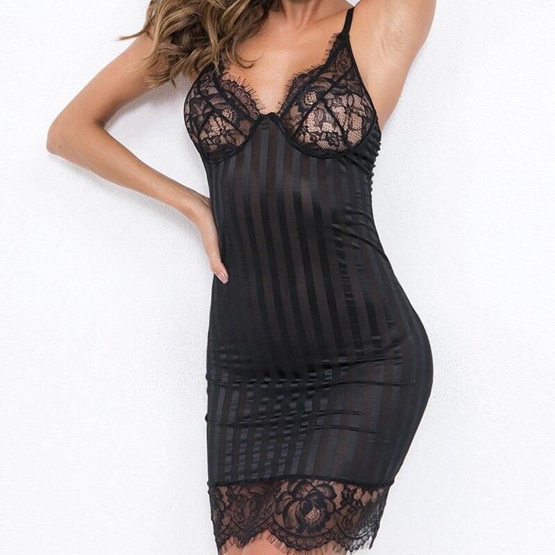 Women\'S Sexy Lingerie Lace Solid Black White Babydolls Chemises Femme Female Nightwear Underwear Babydoll Sleepwear Dress