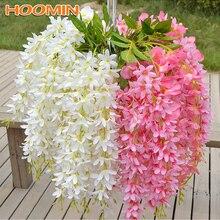 HOOMIN 5 head/Bunch Artificial Clove Flower Vines Garland Fake Silk Wisteria Wed