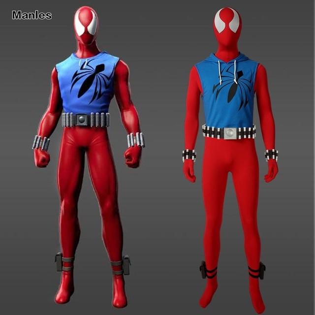Marvel's Spider-Man Scarlet Spider Costume Homecoming Cosplay Carnival Adult Superhero Spiderman Jumpsuit Halloween Hoodie Coat