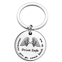Drive Safe Keychain Wherever You Go Come Back To Me Angel wings Gift For Truck Drivers Boyfriend Husband DAD MOM Stainless Steel come to me softly