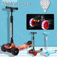 Children Scooter Folding Children Scooter Multi function Graffiti Three wheel Flash Scooters Outdoor Toys 15 Years Bicycle